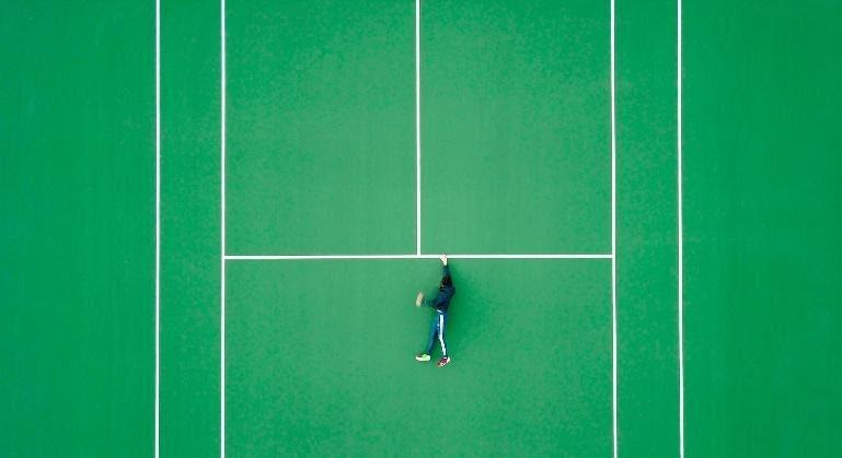 Alone in a tennis game